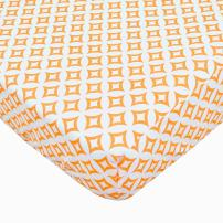 TL Care 100% Natural Cotton Percale Fitted Crib Sheet for Standard Crib and Toddler Mattresses, Orange Tweedle Tee Tile , 28 x 52, Soft Breathable, for Boys and Girls