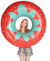 Jasonwell Giant Strawberry Pool Party Float 45 Inch Inflatable Pool Floats Tube Rafts with Fast Valves Summer Beach Swimming Pool Lounge Decorations Toys for Adults & Kids