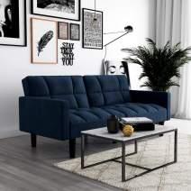 DHP Hayden Convertible Sofa Sleeper Futon with Arms - Blue Microfiber