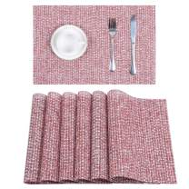 U'Artlines Placemats Vinyl Woven for Dining Table Heat Insulation Stain Resistant Washable PVC Kitchen Table Mats(A Red, 6pcs)