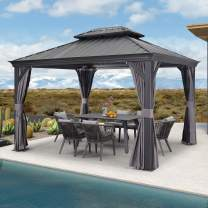 PURPLE LEAF 10' X 12' Permanent Hardtop Gazebo Aluminum Gazebo with Galvanized Steel Double Roof for Patio Lawn and Garden, Curtains and Netting Included, Grey
