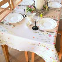 """SALE! Floral Coloring Easter Tablecloth Non-iron Stain Resistant Spring Table Cover Perfect for Easter Kitchen Indoor Dining Room Outdoor Easter Decorations (Ecru Easter2, Square 52""""x52"""")"""