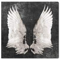 """The Oliver Gal Artist Co. Fashion and Glam Wall Art Canvas Prints 'Graphite Wings' Home Décor, 30"""" x 30"""", White, Gray"""