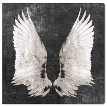 """The Oliver Gal Artist Co. Fashion and Glam Wall Art Canvas Prints 'Graphite Wings' Home Décor, 36"""" x 36"""", White, Gray"""