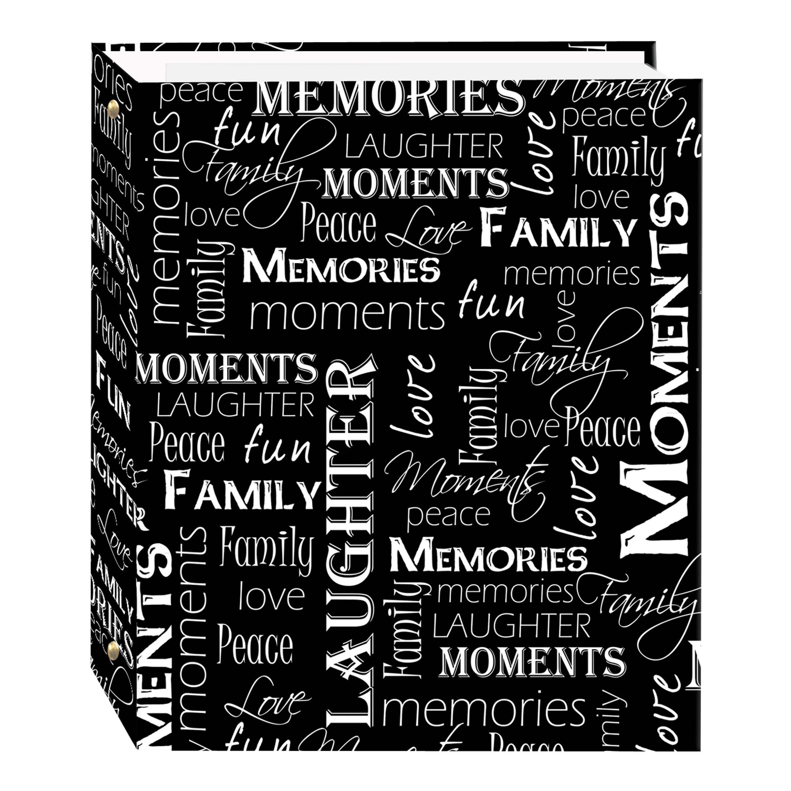 Magnetic Self-Stick 3-Ring Photo Album 100 Pages (50 Sheets), Black & White Words Design