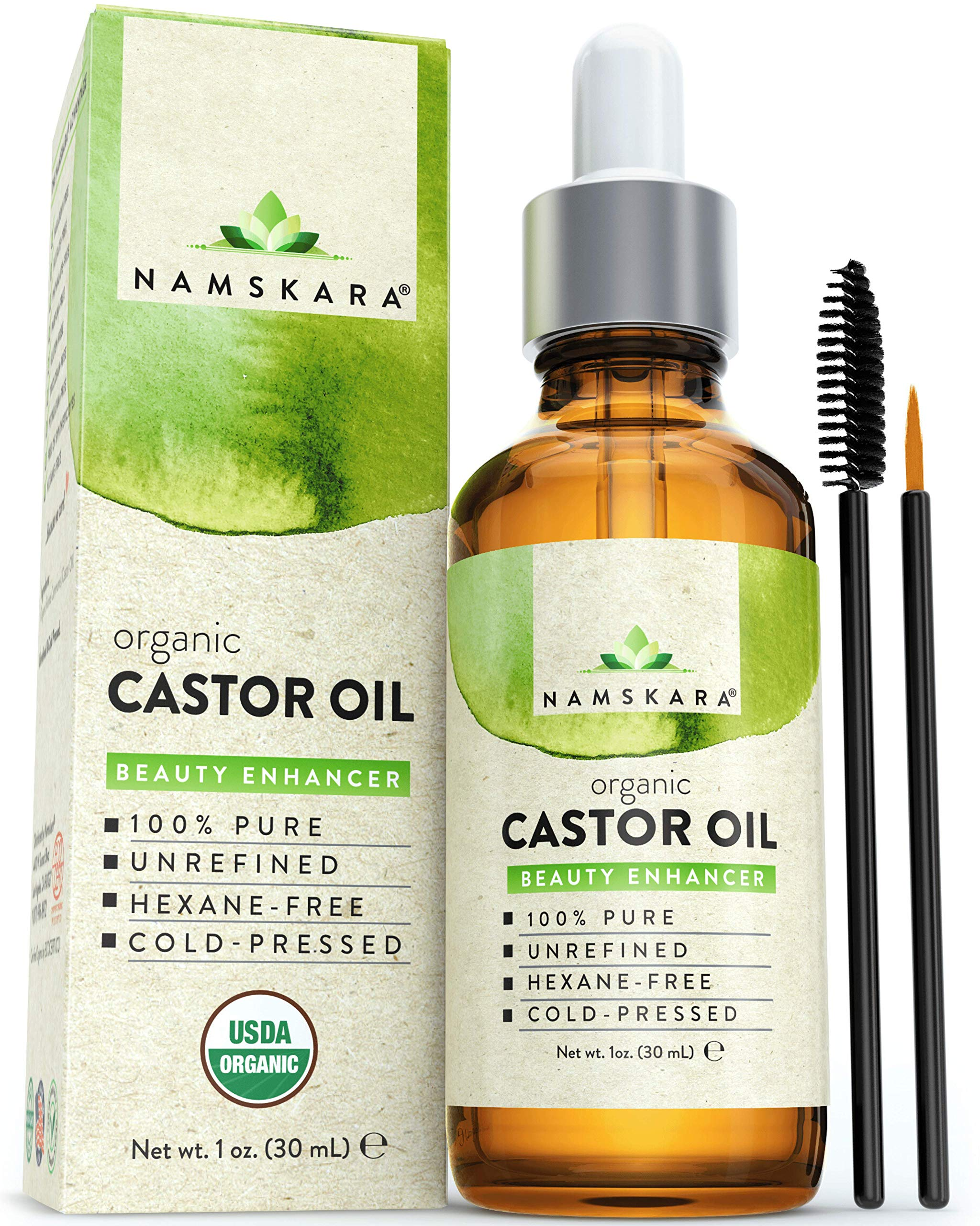 Organic Castor Oil - USDA Certified Organic 100% Pure, Cold-Pressed, Extra-Virgin, Hexane-Free. Best Carrier Oil For Eyelashes, Hair, Eyebrows & Skin (1oz)