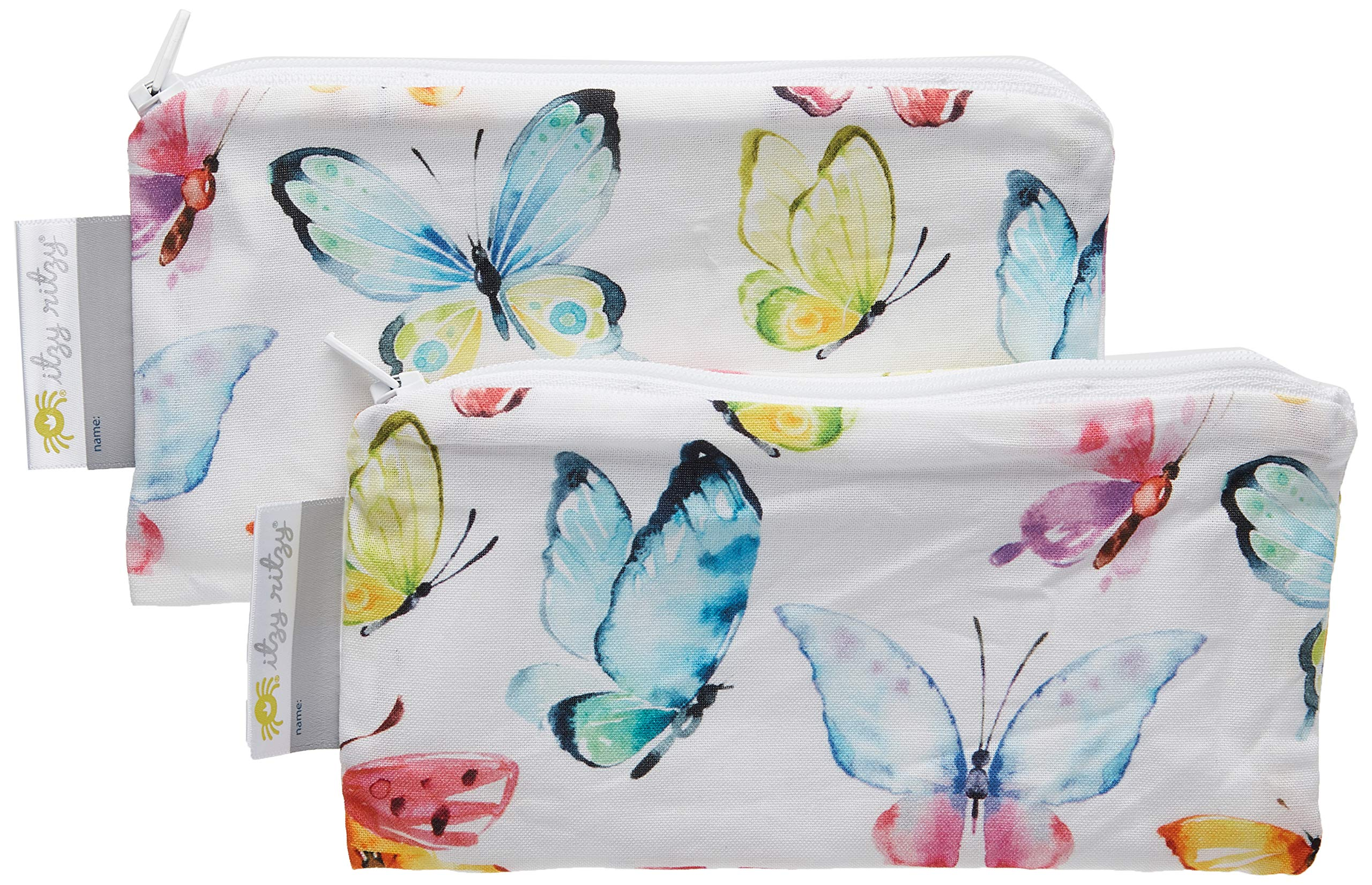 """Itzy Ritzy Reusable Mini Snack Bags – 2-Pack of 3.5"""" x 7"""" BPA-Free Snack Bags are Food Safe & Washable for Storing Snacks, Pacifiers and Makeup in a Diaper Bag, Purse or Travel Bag, Butterflies"""