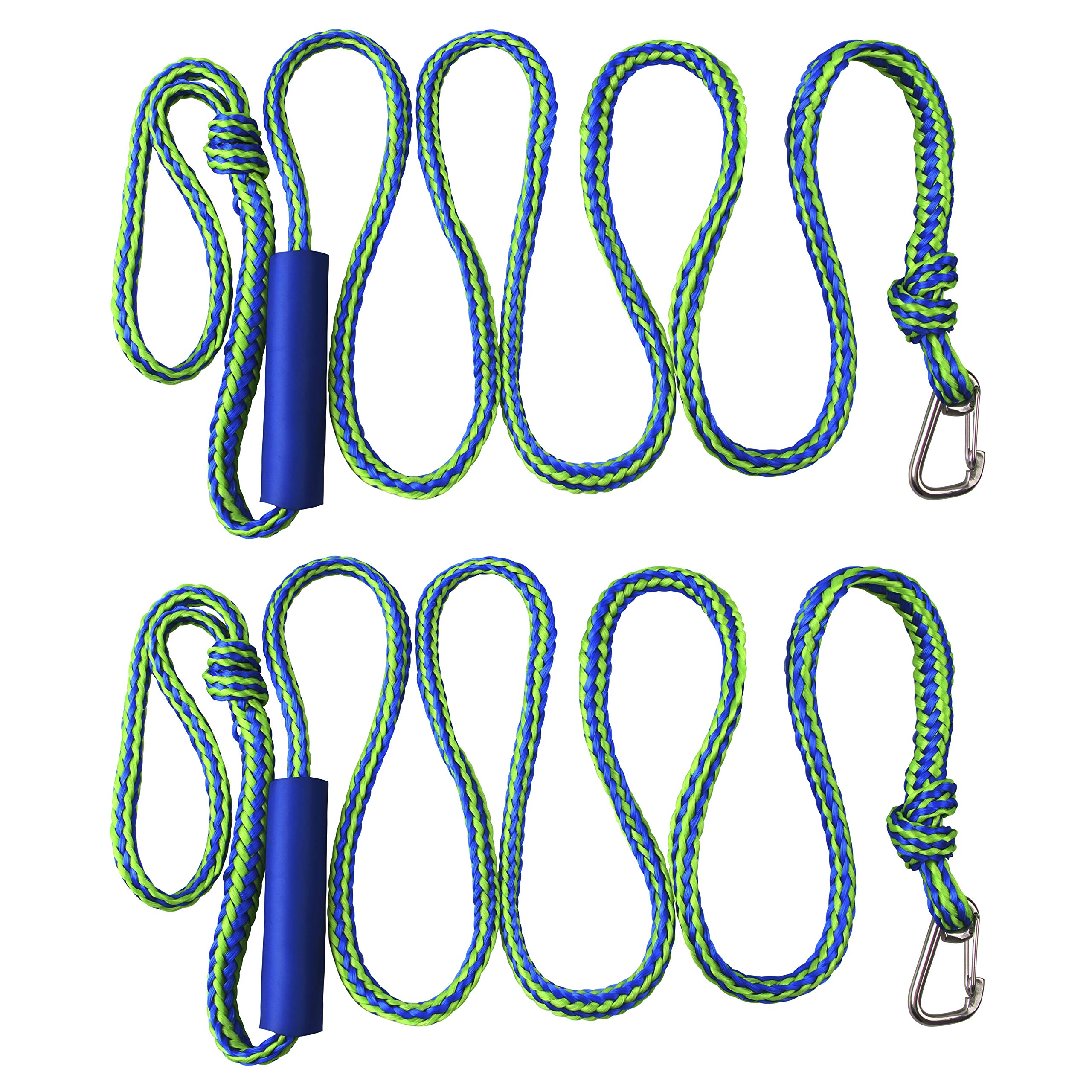 Shaddock Fishing PWC Boat Docking Lines,2 Pack Tow Rope with Clip and Loop Heavy Duty Braided Line Marine Rope Tube Ideal for Jet Ski Watercraft Boat Kayaking Available in 4 Sizes