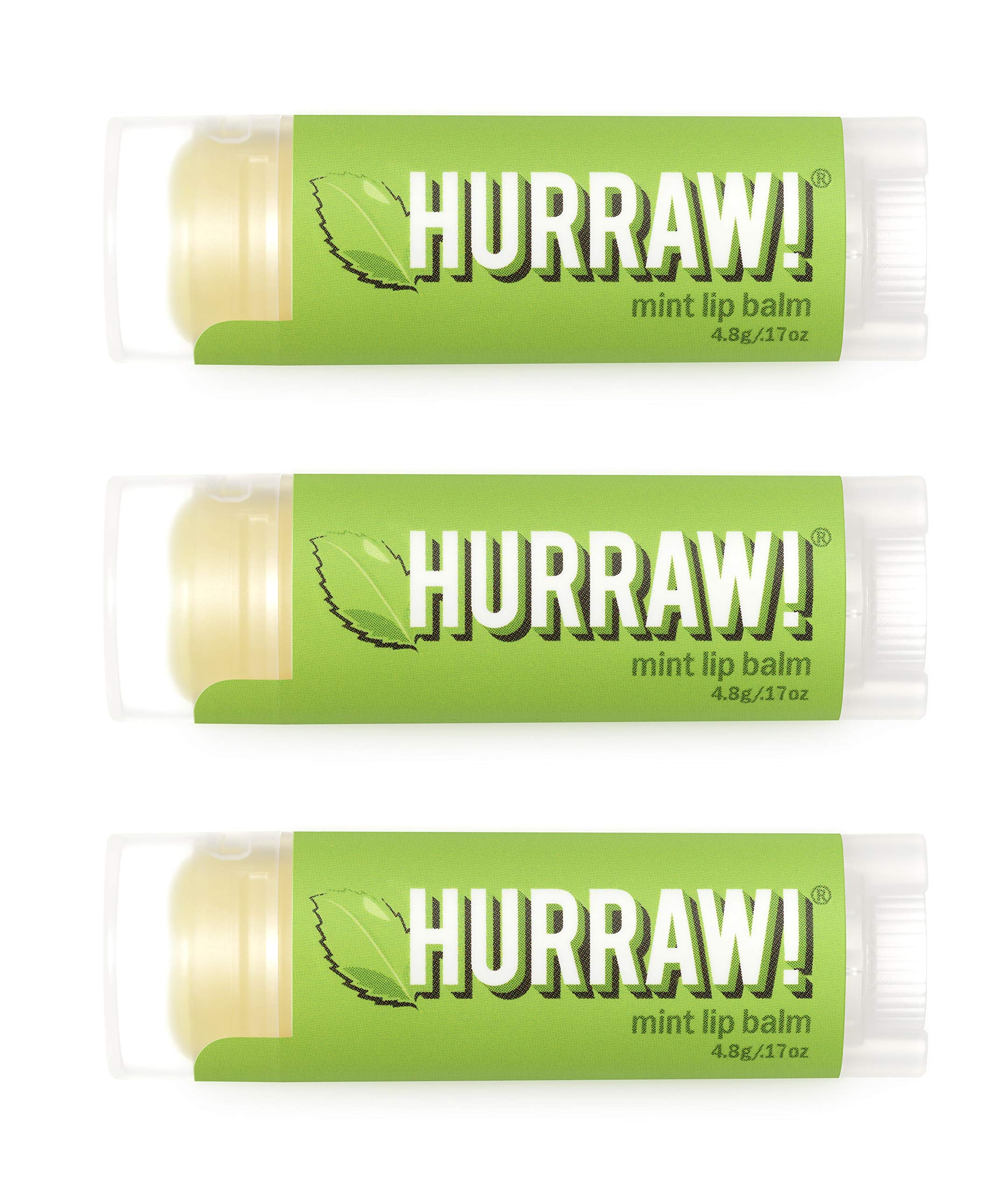 Hurraw Mint Lip Balm, 3 Pack – Organic, Certified Vegan, Cruelty and Gluten Free. Non-GMO, 100% Natural Ingredients. Bee, Shea, Soy and Palm Free. Made in USA