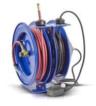 "Coxreels C-L350-5012-F Dual Purpose Electric/Air Spring Rewind Reels: 50' 3/8"" I.D. Hose, 300 PSI; G.F.C.I. Receptacle, 50' Cord, 12 AWG"