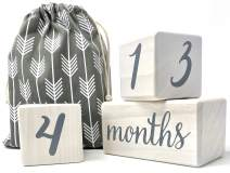 Natural Baby Milestone Blocks for Boy or Girl | Pearl White Pine Wood with Weeks Months Years Grade | Newborn Weekly Monthly First Year Photography Age Props | Baby Shower Gift