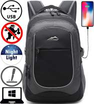 Backpack for School College Student Sturdy Bookbag Travel Business with USB Charging Port Laptop compartment Chest Straps Anti Theft Night Light Reflective (Black)