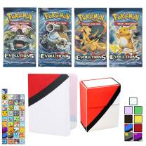 Totem World 1 XY Evolutions Booster Pack with a Inspired Mini Binder Collectors Album and Deck Box for Pokemon Cards - Rare Holo Common or Uncommon TCG