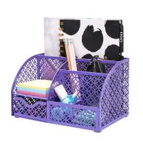 Annova Mesh Desk Organizer Office with 7 Compartments + Drawer/Desk Tidy Candy/Pen Holder/Multifunctional Organizer (Purple)