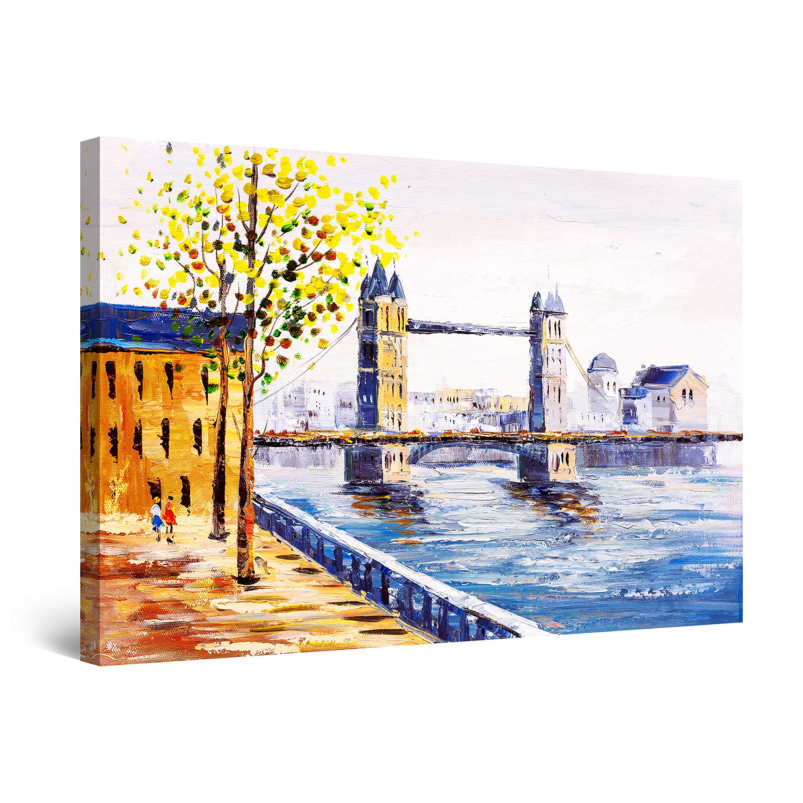 "Startonight Canvas Wall Art Abstract - Tower Bridge London UK Painting - Large Artwork Print for Living Room 32"" x 48"""