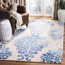 Safavieh Dip Dye Collection DDY516A Handmade Watercolor Vintage Erased Weave Medallions Beige and Blue Wool Area Rug (4' x 6')
