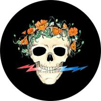 TIRE COVER CENTRAL Grateful Dead Themed Poppy Skull Wheel Spare Tire Cover (Select tire Size/Back up Camera Option in MENU) Sizes for Any Make modelfor 255/75R17