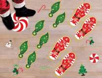 116PCS Christmas Peppermint Floor Stickers Footprints Decorations - Santa Claus/Elf/Candy/Snowman Decals Xmas Party Decor Supplies