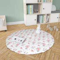 Baby Play Mat Tummy Time Activity Mats for Infants Round Playmat - Pink Plaid Floral Collection (Sweet Blush Roses/Pink Plaid)
