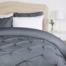 Pinzon Pinch-Pleat Duvet Cover Set, Full / Queen, Pewter