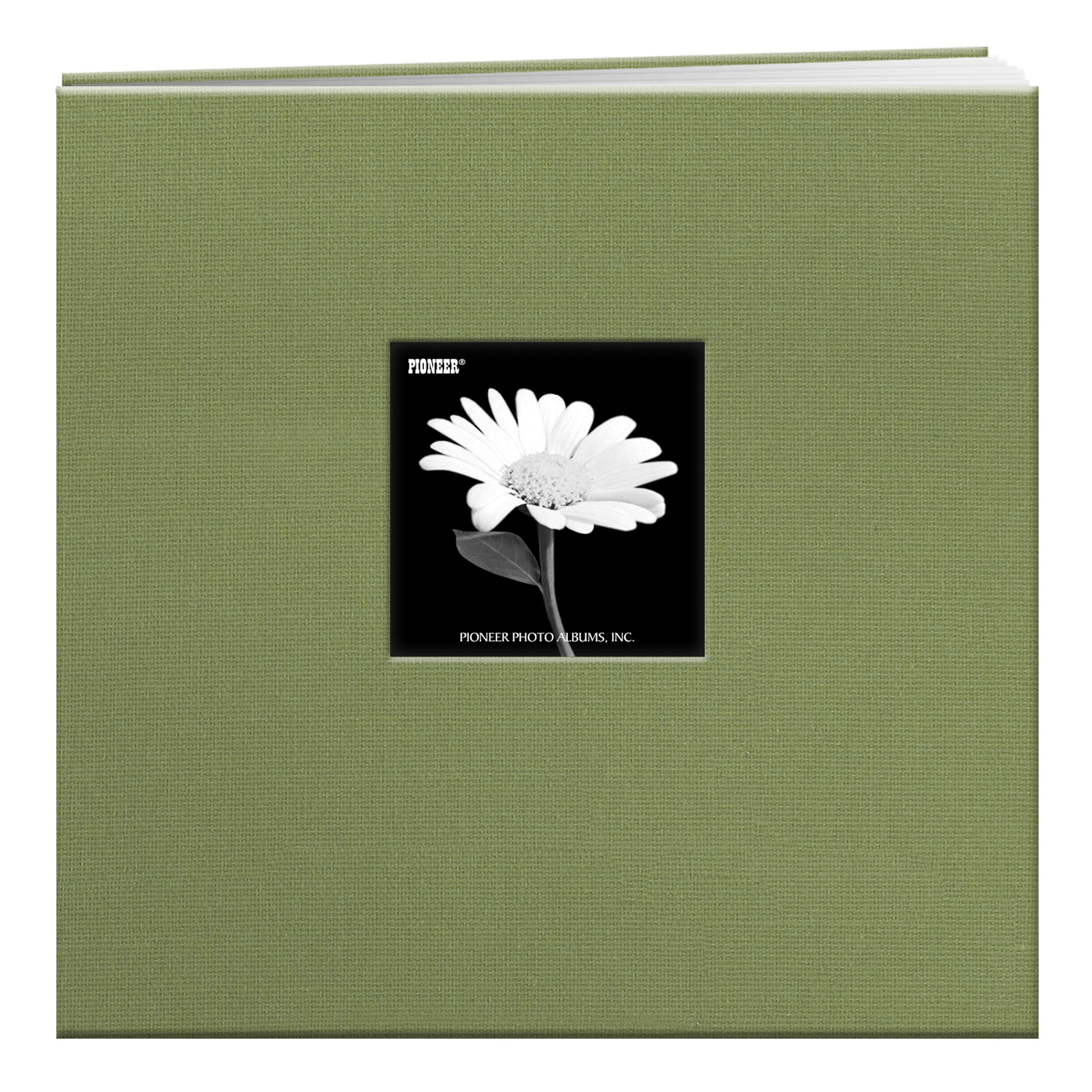 Pioneer 12-Inch by 12-Inch Cloth Cover Postbound Memory Book with Window, Sage Green