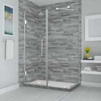 """Aston SEN967EZ-CH-392538-10 Bromley Frameless Hinged Shower Enclosure with StarCast Clear Glass, 38.25"""" to 39.25"""" x 38.375"""" x 72"""", Polished Chrome"""