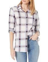 Amazon Brand - Goodthreads Women's Cotton Dobby Long-Sleeve Button-Front Tunic Shirt