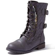DailyShoes Women's Military Lace Up Buckle Combat Boots Mid Knee High Exclusive Quilted Credit Card Pocket
