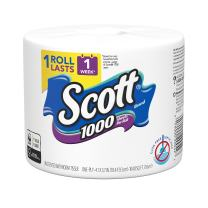 Scott 1000 Sheets Per Roll Toilet Paper, Wrapped Roll, Bath Tissue, 12 Count