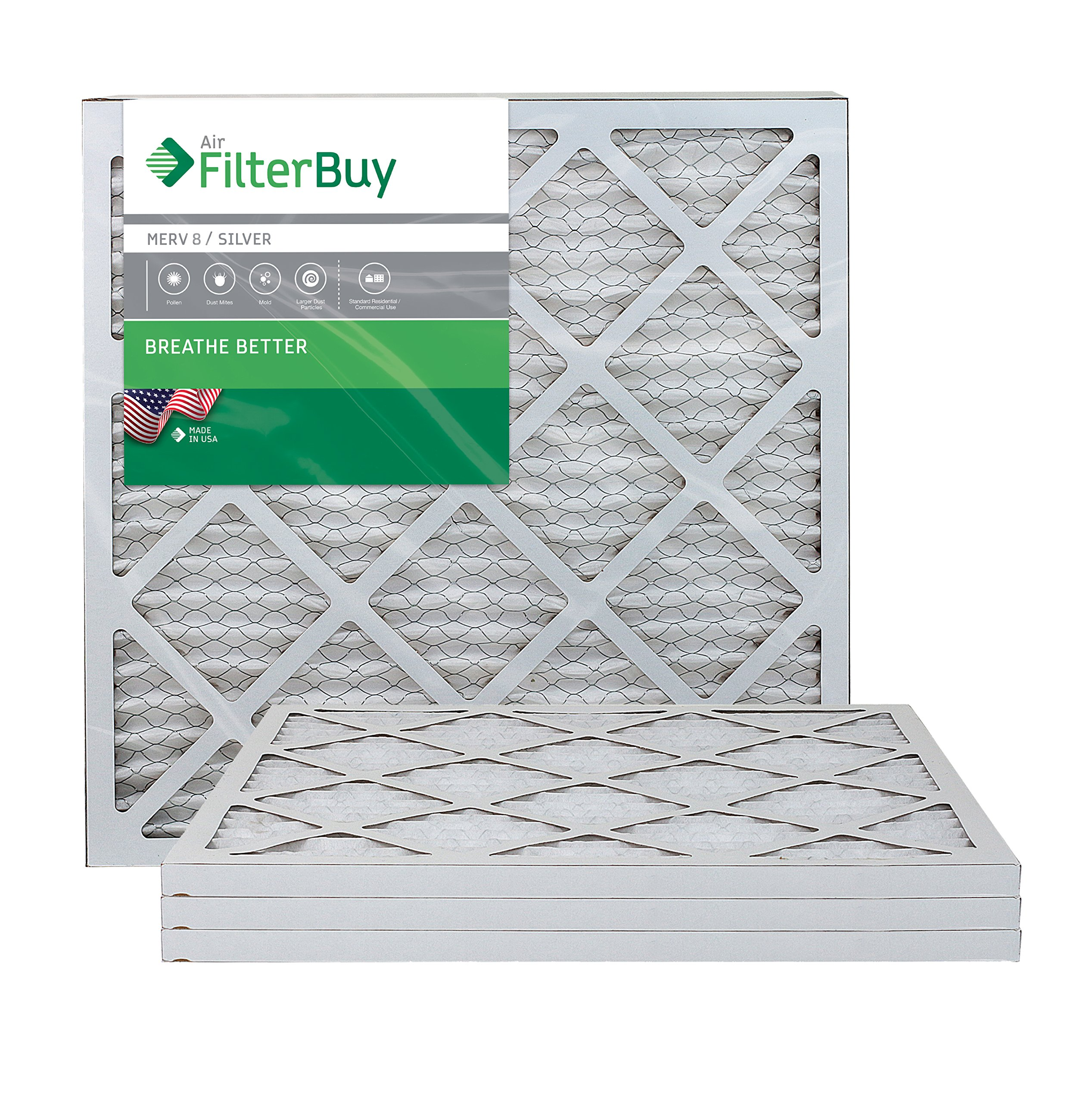 FilterBuy 18x22x1 MERV 8 Pleated AC Furnace Air Filter, (Pack of 4 Filters), 18x22x1 – Silver