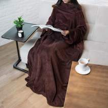 PAVILIA Premium Fleece Blanket with Sleeves for Adult, Women, Men | Warm, Cozy, Extra Soft, Microplush, Functional, Lightweight Wearable Throw (Brown, Regular Pocket)
