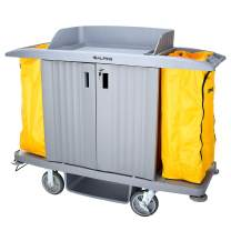 Alpine Industries Housekeeping Cart - Janitorial Cleaning Cart -Locking Storage Cart- Commercial Rolling Janitor Caddy with Vinyl Bag - Custodial Utility Carts (Locking 3 Shelf Cart)