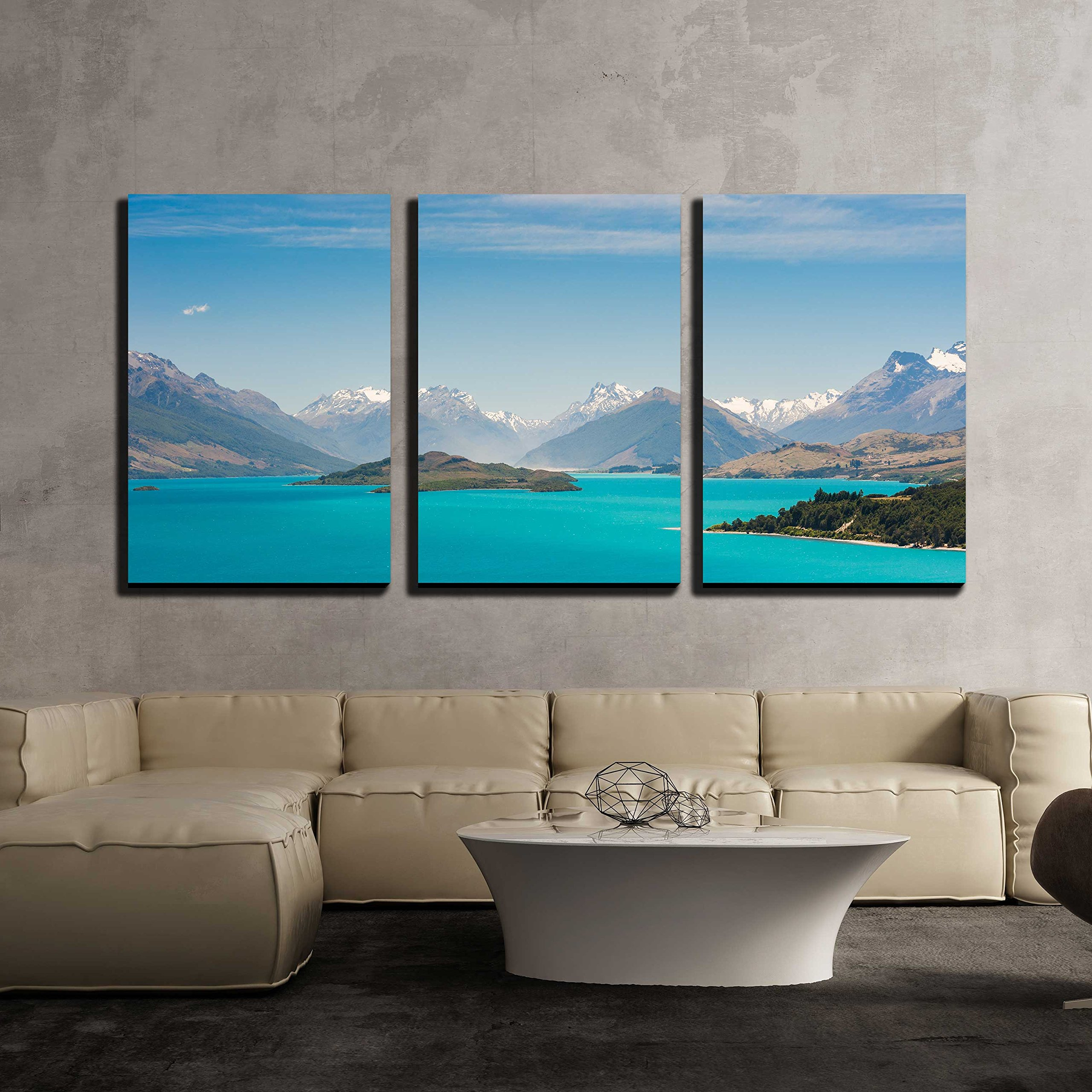 """wall26 - 3 Piece Canvas Wall Art - Beautiful Wakatiup Lake, New Zealand - Modern Home Art Stretched and Framed Ready to Hang - 16""""x24""""x3 Panels"""