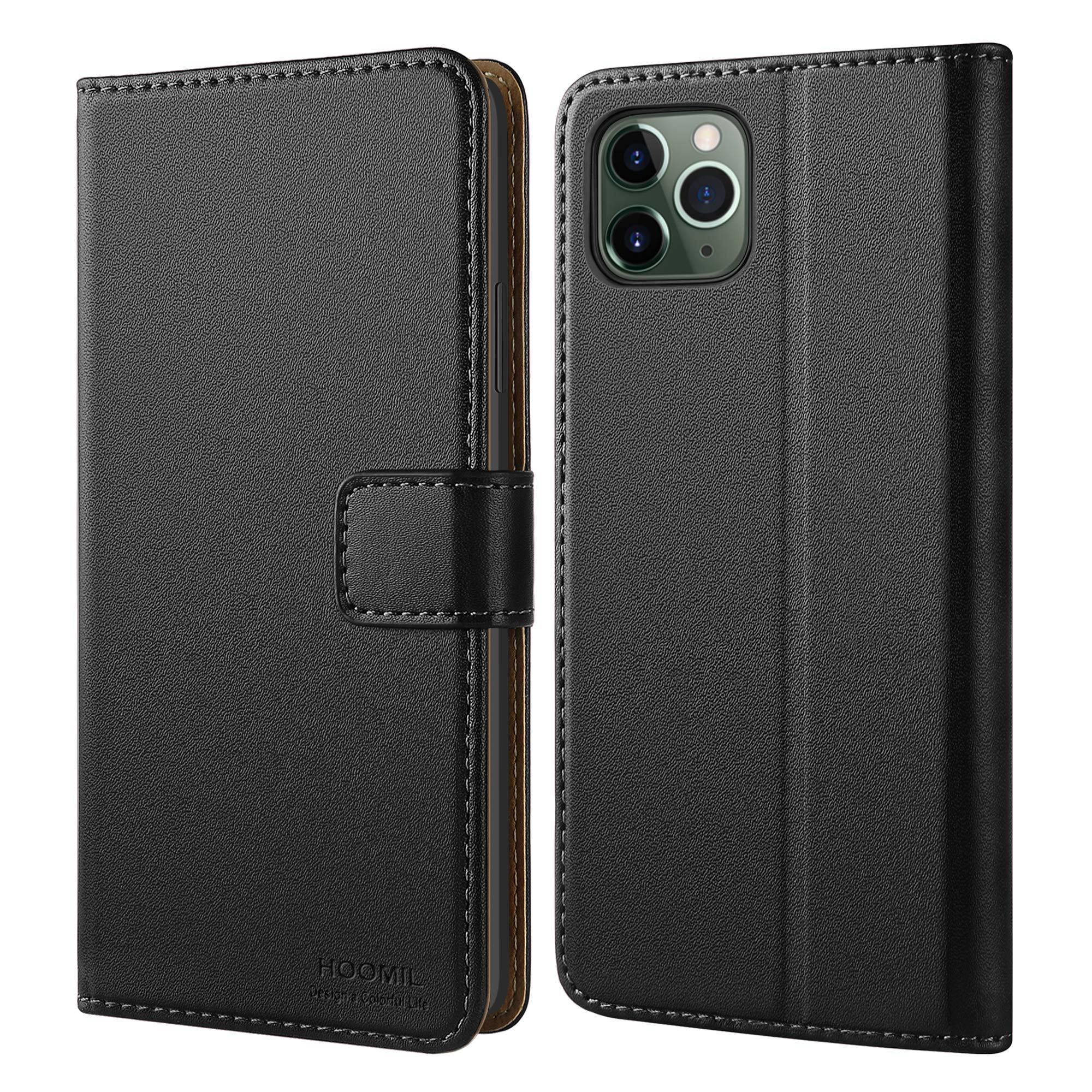HOOMIL iPhone 11 Pro Case, iPhone 11 Pro Leather Case Premium Leather Folio Case, Flip Book Style Wallet Cover with TPU Shockproof, Stand, Card Slots and Cash Pocket for iPhone 11 Pro (Black)