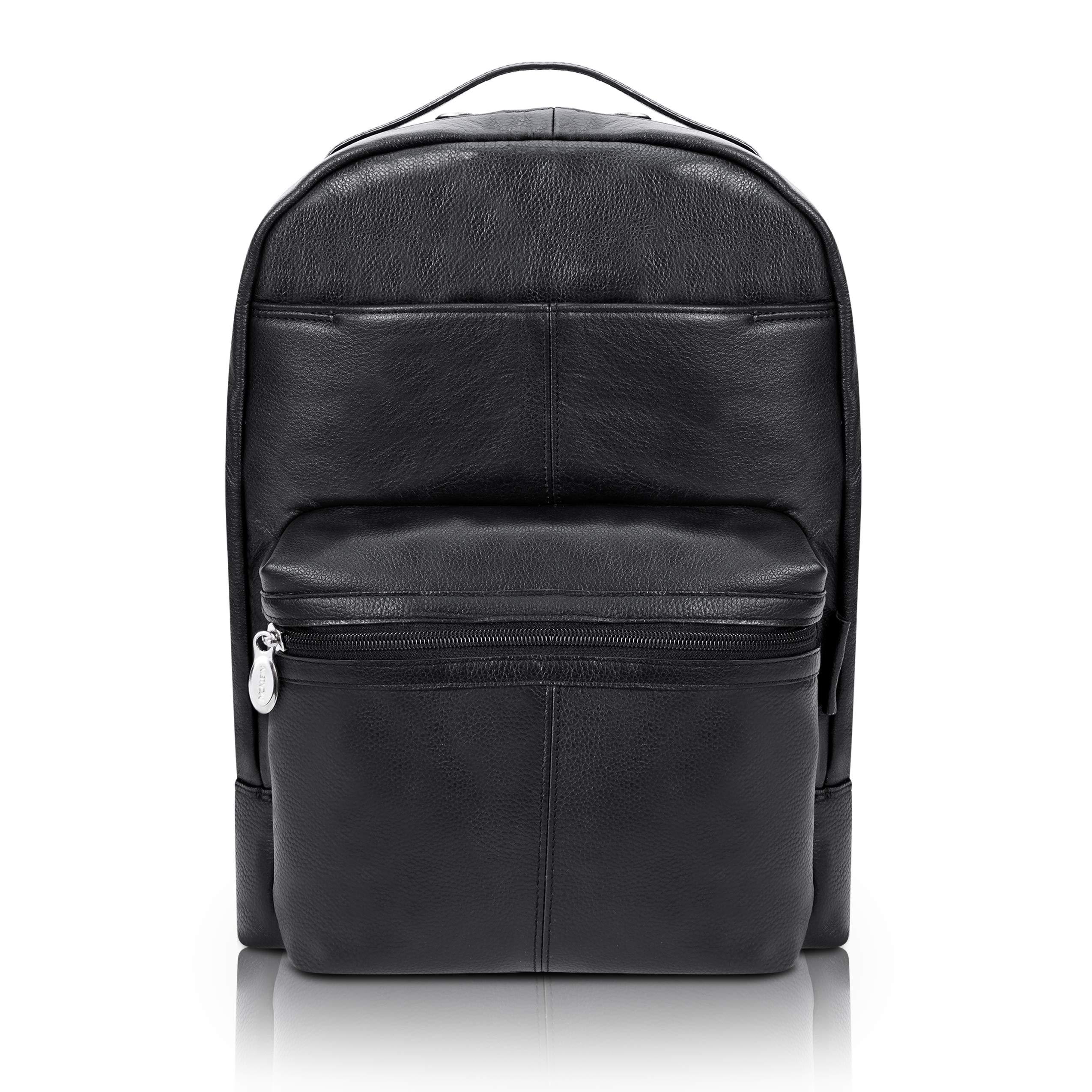 "McKlein, S Series, Parker, Pebble Grain Calfskin Leather, 15"" Leather Dual Compartment Laptop Backpack, Black (88555)"