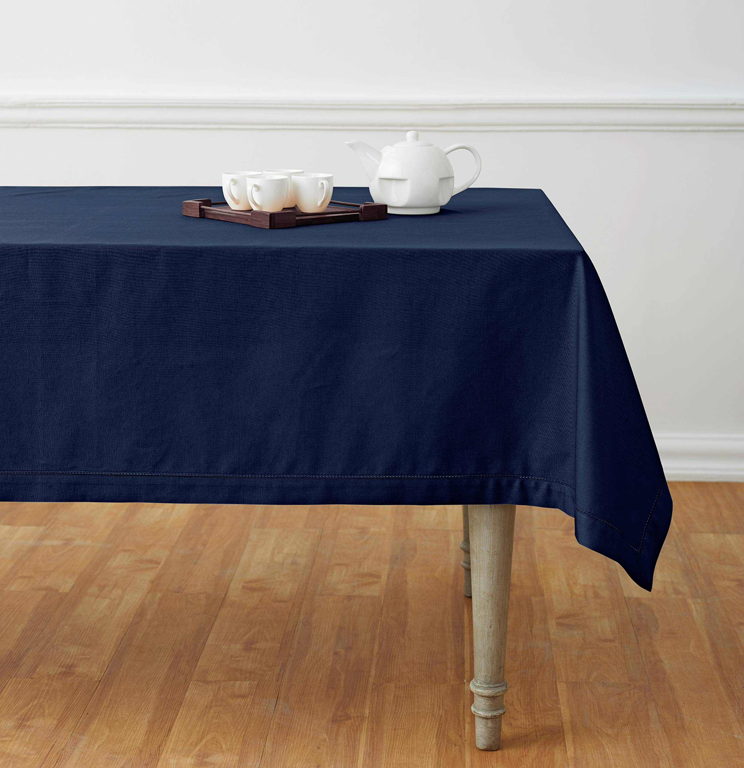 Solino Home Hemstitch Cotton Linen Tablecloth – 58 x 120 Inch, Natural Fabric Machine Washable - Navy Tablecloth for Indoor and Outdoor use
