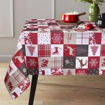 ColorBird Holiday Christmas Tablecloth Deer Sleigh Bells Snowflake Xmas Collage Water Resistant Bamboo Fabric Table Cover for Kitchen Farmhouse Dining Decoration, Rectangle/Oblong, 60 x 102 Inch