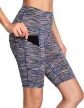 Oalka Women's Yoga Short Side Pockets High Waist Workout Running Shorts Space Dye Camo Multicolor L