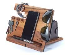 TESLYAR Natural Walnut Wood Phone Docking Station Hooks Key Holder Wallet Stand Watch Organizer Men Gift Husband Anniversary Birthday Nightstand Purse Father Graduation Male Travel Idea Gadgets Solid
