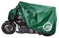 Breathable Motorcycle Cover W/elastic Bottom. Premium Heavy Duty Outdoor Waterproof All Season Polyester W/soft Screen Shield. Universal Heat Resistant Lockable Fabric (Hunter Green, Extra Large)