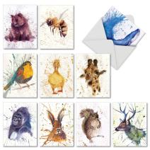 Wildlife Splash - 10 Watercolor Blank Note Cards with Envelopes (4 x 5.12 Inch) - Assorted Boxed Animal Painting Greeting Cards for All Occasions - Inspirational Notecard Set AM2954OCB-B1x10