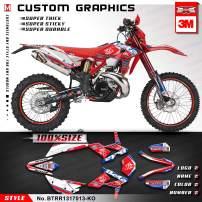 Kungfu Graphics Custom Decal Kit for Beta 250 300 350 390 430 480 RR 2014 2015 2016 2017, Red Blue White, BTRR1317013-KO