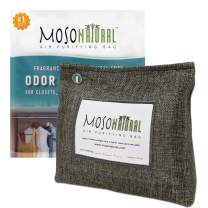 MOSO NATURAL: Stand Up Home Air Purifying Bag 300g. Fragrance Free, Chemical Free, Long Lasting, Moisture Absorbing, Odor Eliminator. for Closets, Bathrooms, Pet Areas. Charcoal Color