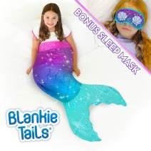 Blankie Tails | Mermaid Tail Blanket - Double Sided Cozy Mermaid Minky Fleece Blanket - Machine Washable Fun Wearable Blanket for Kids (Purple/Aqua Glitter with Sleep Mask)