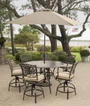 Hanover TRADDN7PCBR-SU Traditions 7-Piece High-Dining Set in Tan with 9 Ft. Table Umbrella and Stand Outdoor Furniture