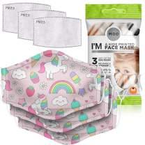 MOD Reusable Printed Face Mask, 3 Pk Adjustable, Filters (Kids, Unicorn)