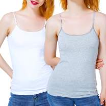 Women's Tops 2 Pack Camisole Cotton with Spaghetti Straps Tank Top