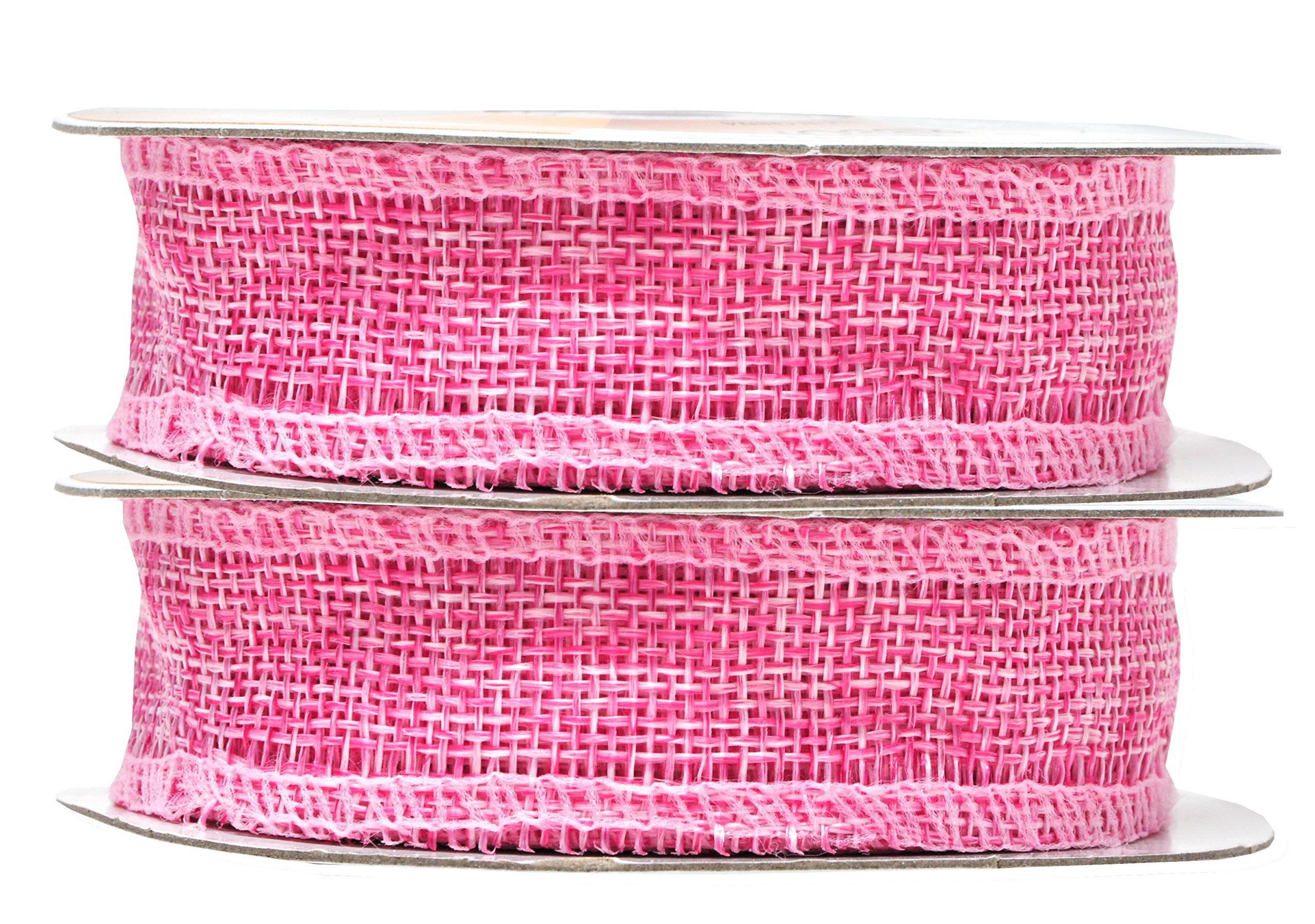 Pink Burlap Ribbon 1 Inch 2 Rolls 20 Yards Unwired Rustic Jute Ribbon for Crafts, Mason Jars, Weddings, Party Decoration; by Mandala Crafts