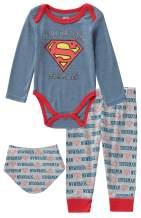 DC Comics Superman 3 Piece Infant Baby Boys Long Sleeve Bodysuit Pullon Pants and Bibs
