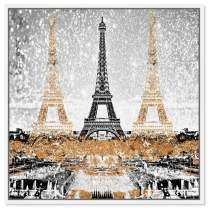 """The Oliver Gal Artist Co. Cities and Skylines Framed Wall Art Canvas Prints 'Triple Paris Gold' European Cities, Gold, Black, 30"""" x 30"""""""